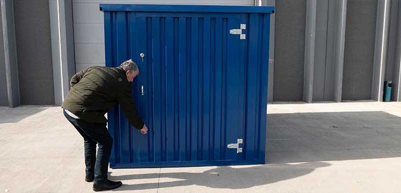 Demontabele zeecontainer EDK in de RAL kleur blauw van zelfbouwcontainer