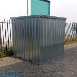 Verplaatsbare opslagcontainer met enkele deur korte zijde van zelfbouw