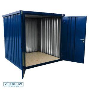 Demontabele gekleurde container blauw gekleurd, witte achtergrond. Container