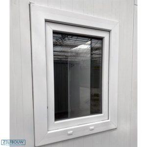 Tijdelijke kantoorruimte raam van demontabele kantoorunit