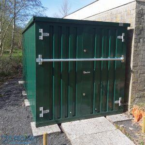 groene bar container met inbraakbeveiliging