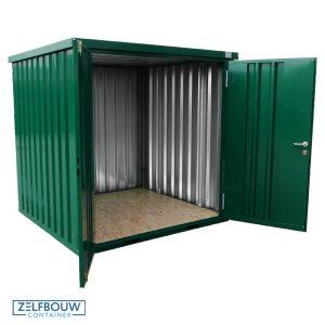 Gekleurde demontabele container met een groene kleur. RAL