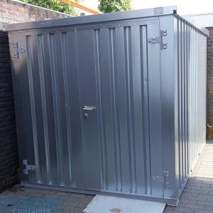 Demontabele materiaalcontainer met dubbele deur aan de kop zijde