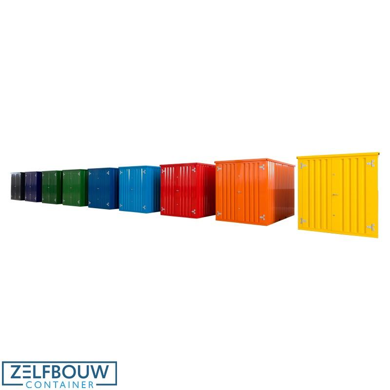 Demontabele containers in de kleuren geel oranje rood blauw lichtblauw donkerblauw lichtgroen groen donkergroen donkerblauw en zwart antraciet