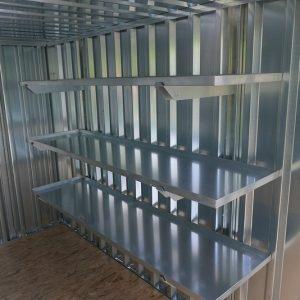 drie 2 meter stellingen voor aan de zijkant van uw container bij zelfbouw