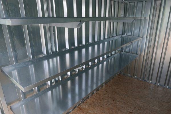 Brede 3 meter stellage voor in de container van zelfbouw