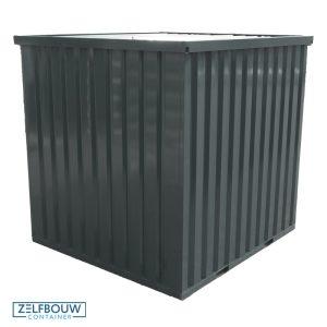 Materiaalcontainer 2x2 dubbele deur geverfd in RAL kleur 7012 grijs/antraciet