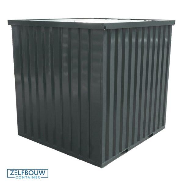 Demontabele materiaalcontainer in de antraciet kleur, achter aanzicht vanaf boven