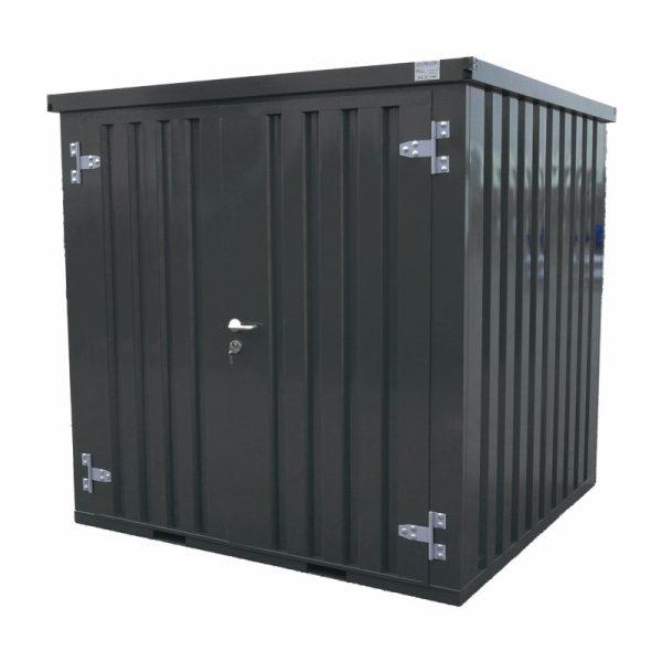 Standaard container 2×2 DDK – Deur dicht half-zijaanzicht Antraciet