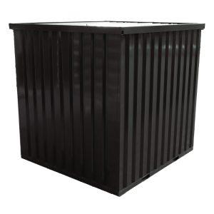 Standaard demontabele container in de kleur zwart 9005 RAL achter aanzicht met gesloten deuren