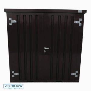 Zwarte materiaalcontainer in RAL kleur 9005 zwart met dubbele deur aan voorzijde