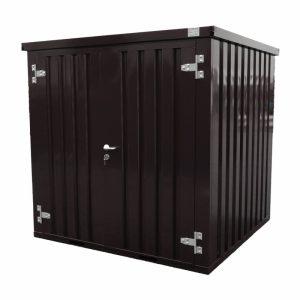 Standaard demontabele container in de kleur zwart 9005 RAL Zijaanzicht met gesloten deuren