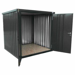 Opslagcontainer met dubbele deur aan de korte zijde van zelfbouwcontainer