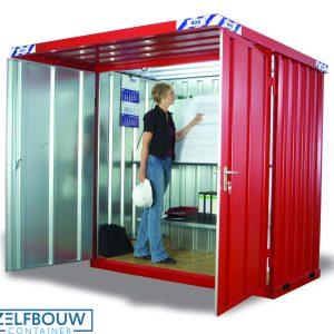 RAL rood gekleurde rookcontainer met afdak overkapping met bouwtekeningen en stellingen