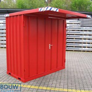 Demontabele mobiele rookcontainer RAL kleur rood met afdak overkapping
