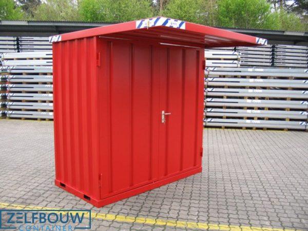 Kleine rookcontainer met afdak overkapping gekleurd in rode RAL kleur