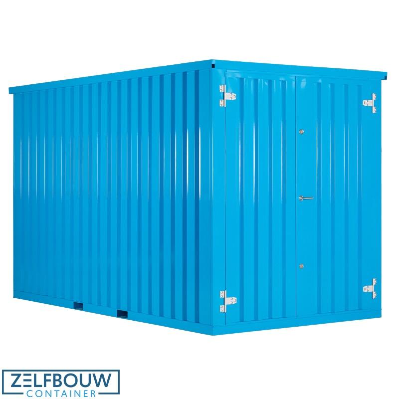 Demontabele container lichtblauw gekleurd in een RAL kleur van Zelfbouwcontainer Nederland