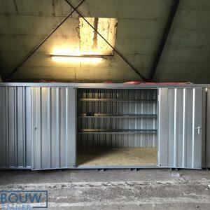 Materiaalcontainer met stellingen voor herbruikbare opslag