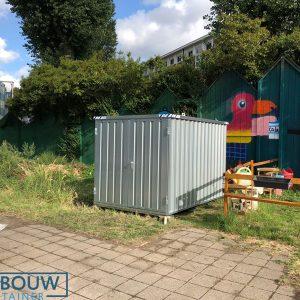 Demontabele schuur opslagcontainer op locatie