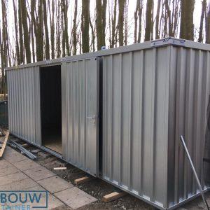 Demontabele materiaalcontainer 6x2 meter met deur aan lange zijde