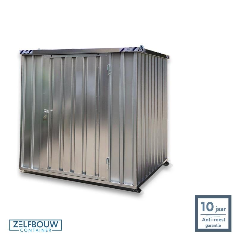 Demontabele opslagcontainer 2x2 gegalvaniseerd gebruik als tuinhuis en opslag