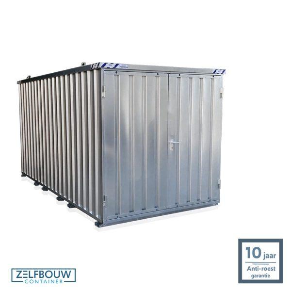 Demontabele schuur opslagcontainer 4x2 meter dubbele deur aan kopzijde op locatie