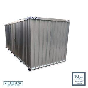 Demontabele materiaal opslagcontainer 5x2 met enkele deur aan lange zijde gegalvaniseerd