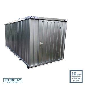Demontabele materiaal opslagcontainer 5x2 met enkele deur aan kopzijde gegalvaniseerd