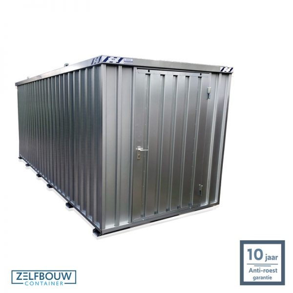 Demontabele materiaal opslagcontainer 5×2 met enkele deur aan kopzijde gegalvaniseerd