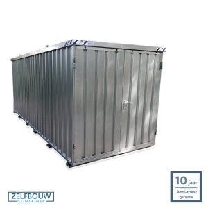 Demontabele materiaal opslagcontainer 5x2 met dubbele deur aan kopzijde gegalvaniseerd