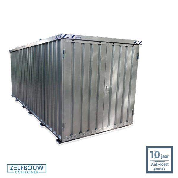 Demontabele materiaal opslagcontainer 5×2 met dubbele deur aan kopzijde gegalvaniseerd