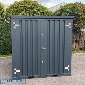 Demontabele container van zelfbouw in RAL donkergrijs