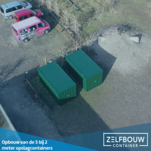 Demontabele Container 2 x 2 enkele deur korte zijde in kleur