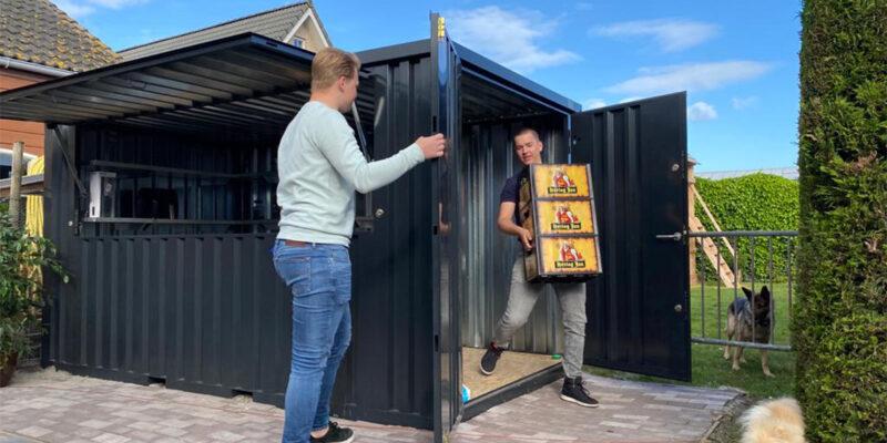 demontabele bar container 3 x 2 meter zwart gekleurd