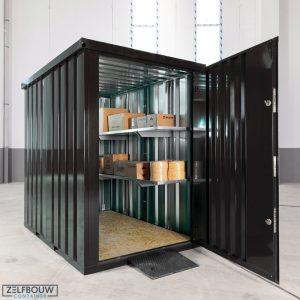 Demontabel tuinhuis in de kleur zwart container
